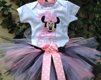 Pink Black Minnie Mouse 1st Birthday Outfit Onesie Tutu FREE Hair Bow Personalized