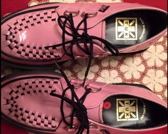 TUK Pink Patent Leather Creepers
