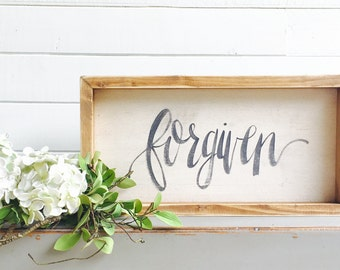 Forgiven   Small Rustic Sign   Home Decor   Mantle Sign   Gallery Wall