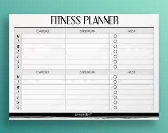 Fitness Planner Printable - A4/A5 Organiser - Digital Stationery - Modern Style - Download Instantly!
