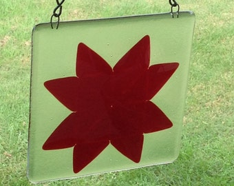 """Quilt Block Suncatcher """"Eight Pointed Star"""""""