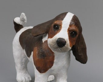 sculpture papier mache of a beagle puppy