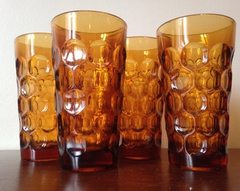 Tall Amber Thumbprint Tumblers - Fenton Glass - Set of 4 / Gold Drinking Glasses / Water Glasses