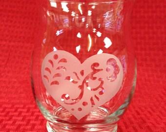 Sandblasted heart design flower vase