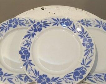 3 French vintage dinner plates