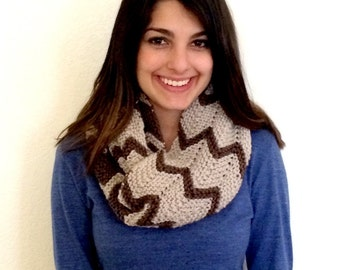 Knit Cowl, Hand Knit Scarf, Brown Knit Cowl Scarf, Long Knit Cowl Scarf With Chevron Design