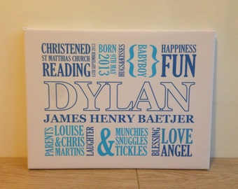 Baby Boy Christening Canvas