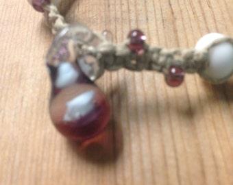 Handcrafted Glass Glow in the Dark Pendant Hemp Bracelet