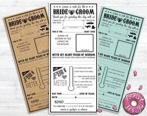 Printable Wedding Mad Lib // Premade // Funny // Advice // Guest Book