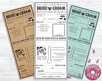 Printable Wedding Mad Lib // Premade // Funny // Advice // Guest Book
