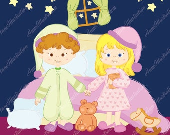 Bedtime Clipart, Personal & Commercial use, Vector,  Instant download Illustration_C1-01