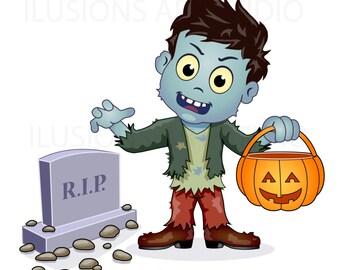 Zombie Holding a Pumpkin Clip Art