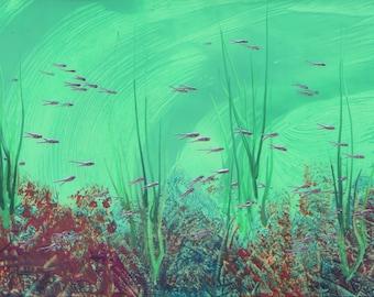 Encaustic painting of Underwater Fish Scene