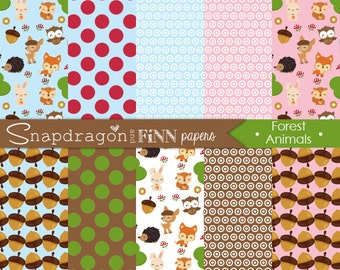 Forest Animal Papers, Woodland Digital Papers, Forest Digital Papers, deer, fox, owl, acorn, bunny, Commercial License Included
