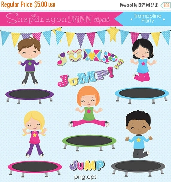 SALE Trampoline Clipart Trampoline Party By Snapdragonandfinn