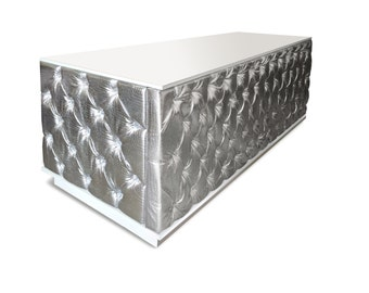 Quilted Fabric Gloss White Desk