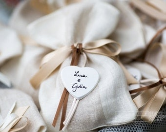 Wedding favor bag 100% linen shabby chic
