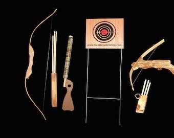 Children's Wood Bow and Arrow; Archery Set; popgun; Cross bow; Arrows; Wooden bow and arrow set; Kids bow and arrow; Archery; Cross bow