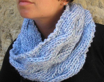 Chunky Blue Handknit Cowl Neckwarmer