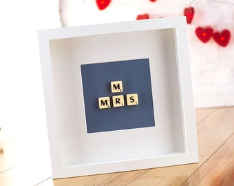 Mr & Mrs Scrabble tile wedding picture