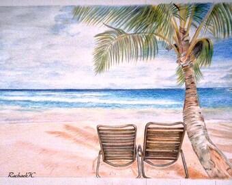 KEY WEST BEACH--Original colored pencil art.