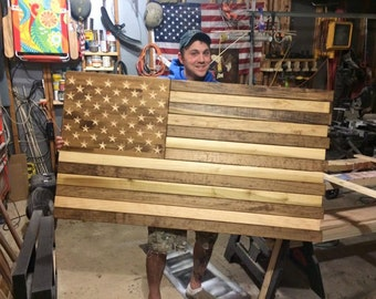5Ft Carved Old Glory #27