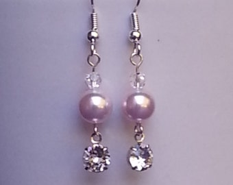 Pink Swarovski Pearl and Crystal Earrings with Swarovski Crystal Setting Bridal Earrings