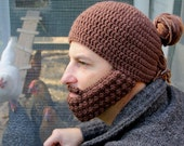 Crochet Hat with Beard, Man Bun Hat, The Portland