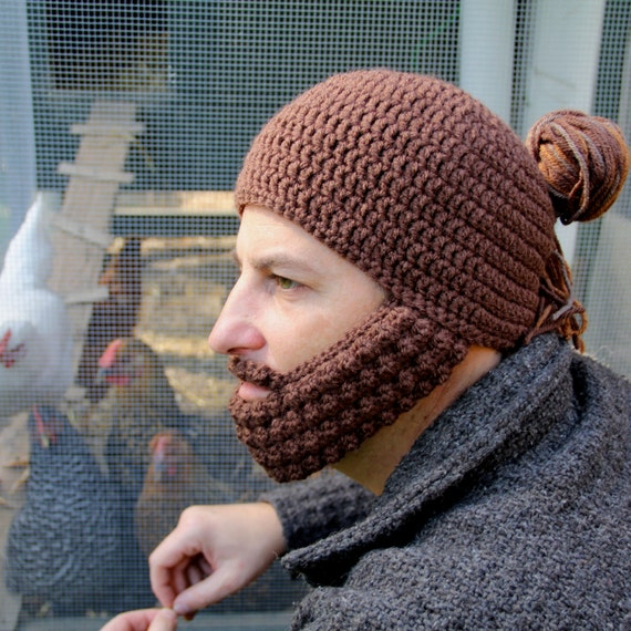 Crochet Bun Hat : Crochet Hat with Beard, Man Bun Hat, The Portland, Unique gift for him