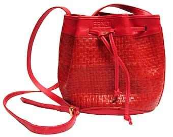 Red Woven Leather Fendi Bucket Bag