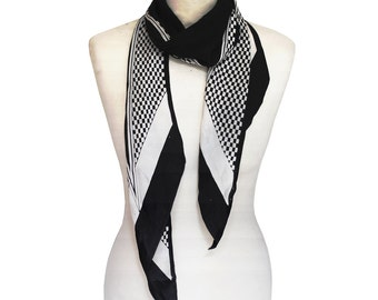 Black And White Checked 1920's Scarf