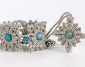 Crochet Wide Beaded Cuff Bracelet and Necklace Jewelry Set Pattern - PDF instant download - DIY crochet jewelry - Wrist Cuff - Windrose set