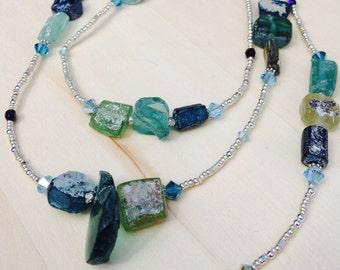 Ancient Roman Glass, Silver, and Czech Glass, Blue, Aqua, Green Necklace