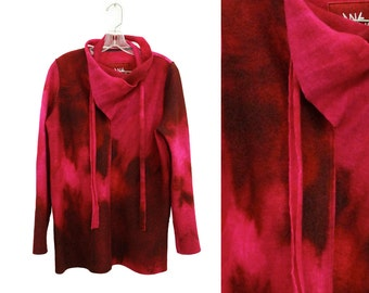 Hand-dyed Wool Sweater, Red Wool Sweater, Felted Wool Sweater