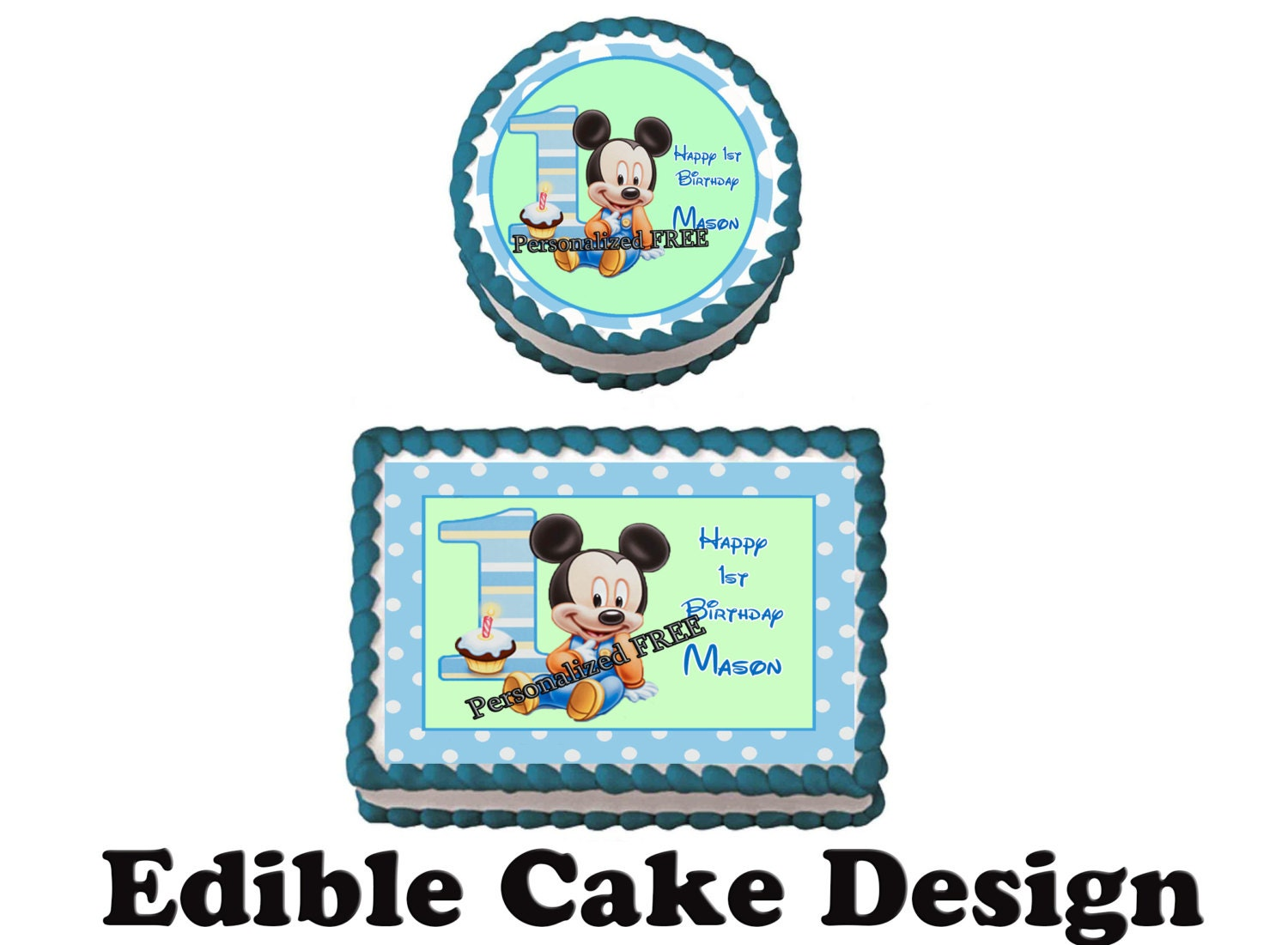 Edible Cake Images 1st Birthday : MICKEY MOUSE 1st Birthday Party Edible Image Cake Topper