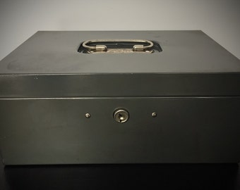 Vintage Gunmetal Gray Metal File Box / Mid Century / Mad Men / Office storage / 1950's / 1960's