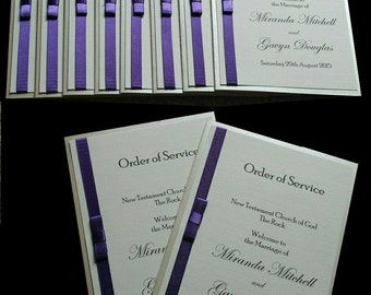 Wedding Order of Service Booklets in Ribbon and Bow Design