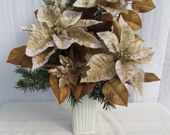 Champagne and gold poinsettia Christmas floral: Tall white ceramic vase/Antique gold rose leaves/Christmas branches/Silk poinsettia flowers