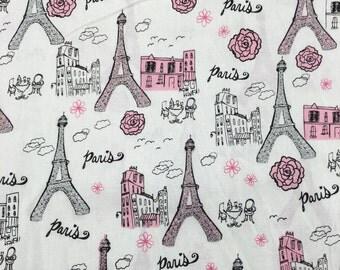Paris Eiffel Tower France Glitter Pink Fabric Apparel Quilting 100% Cotton 1 Yard