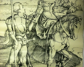 Albrecht Dürer, Lady on Horseback and the Lansquenet (CA. 1497) COPY