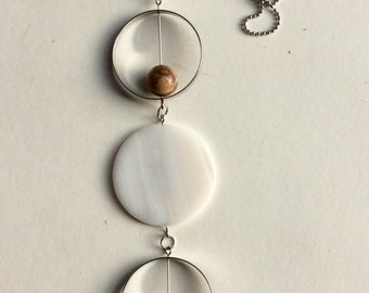 Long necklace / mother of Pearl / Jasper and steel