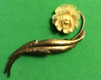 Gold/ Ivory Brooch
