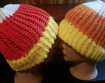 1 ADULT knitted candy corn hat (Please READ description)