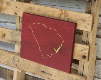 "South Carolina State Silhouette Maroon and Gold ""Home"" Canvas 8x10, 11x14"
