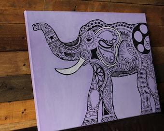 Purple Tribal Print Elephant 11x14 or 12x16