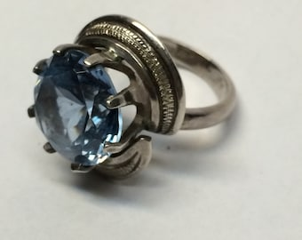 Silver Ring, Blue Topaz, Statement Ring,