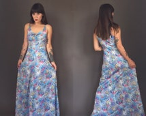 Vintage BODYCON garden in the sky KEYHOLE MAXI