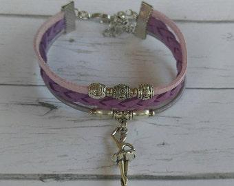 Girls Ballerina Bracelet// Friendship Bracelet// Team Colors// Ballet Mom// Ballet Gift// Choose Sports Team Colors & Charm