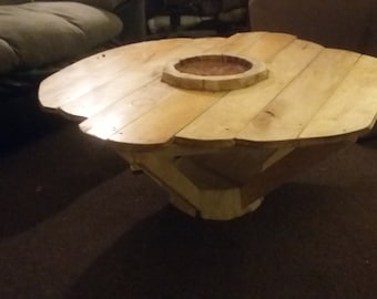 hardwood tree stump coffee table