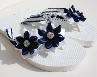 Blue and White Colored Rolled Flowers Flip Flops / Bridal Flip Flops / Wedding Flip Flops / Bridesmaid slippers